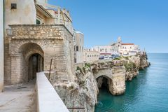 Vieste, the famous `Pearl of Gargano` in Foggia Province, Puglia, southern Italy. royalty free stock images