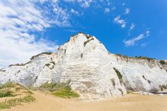 Vieste, Italy - Impressive chalk cliffs at the beach of Vieste stock photo