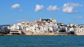 Vieste. A view of Vieste from the sea (Foggia, Apulia, Italy). A marine resort in Gargano, Vieste has received Blue Flags for the purity of its waters from the Stock Image