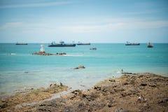viet nam рыболовства danang шлюпки пляжа Стоковая Фотография RF