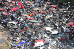 Viet nam, Feb 15, 2016 -high view of motocycle  parking Royalty Free Stock Photography