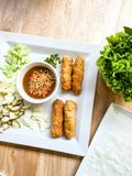 Viet nam food. Eating viet nam food with wasabi Royalty Free Stock Photos