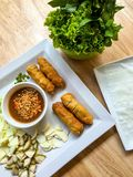 Viet nam food. Eating viet nam food with wasabi Stock Images