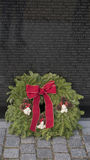 Viet Nam Memorial and Christmas wreath. Viet Nam Memorial and Christmas wreath in Washington DC royalty free stock image