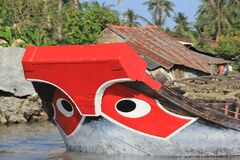 Traditional cargo boat in Viet Nam.