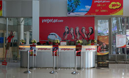 Vietjet ticket counters at Lien Khang airport in Dalat, Vietnam Stock Photo