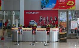 Vietjet ticket counters at Lien Khang airport in Dalat, Vietnam Stock Photo