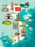 Vietnam översiktsvektor Illustrerad översikt av Vietnam för barn/unge royaltyfri illustrationer