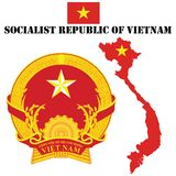 Vietnam. Map flag and coat of arms for Vietnam Royalty Free Stock Images