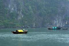 Vietnam. Junks in Halong Bay Viet Nam royalty free stock photography