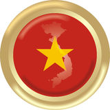 Vietnam. Art illustration: round gold medal with map and flag of vietnam Stock Photo