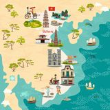 Vietnam abstract map, hand drawn vector illustration. Travel illustration of Vietnam with landmarks icons. stock illustration