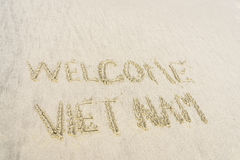 Vietnam agradable escrito en arena Fotografía de archivo