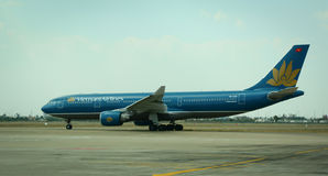 Vietnam Airlines plane at the airport in Taipei, Taiwan Stock Image