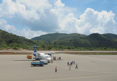 Vietnam Airlines plane taxis in Con Dao island Royalty Free Stock Image