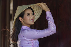 VIetnam. Ao dai is famous traditional costume for woman in VIetnam Stock Photo