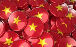 Vietnam Badges Background - Pile of Vietnamese Flag Buttons. Stock Photo