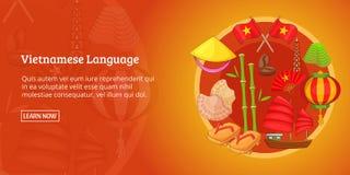 Vietnam banner horizontal, cartoon style Royalty Free Stock Photo