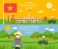 Vietnam Banner Set. Vietnam horizontal banner set with flat tourist attractions elements  vector illustration Stock Image