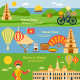 Vietnam Banner Set. Vietnam horizontal banner set with flat travel elements isolated vector illustration Stock Images