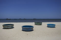 Vietnam Beach fishing boats Royalty Free Stock Photo