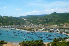 Vietnam beach, Vinh Hy bay, Vietnam travel. Beautiful panoramic landscape of Vietnam beach, Vinh Hy bay, Ninh Thuan, group of boat anchor at fishing village stock images