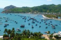 Vietnam beach, Vinh Hy bay, Vietnam travel. Beautiful panoramic landscape of Vietnam beach, Vinh Hy bay, Ninh Thuan, group of boat anchor at fishing village royalty free stock image