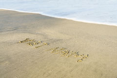 Vietnam Beach. Vietnam written on the sand. Beach in Danang, Vietnam Royalty Free Stock Image