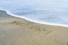 Vietnam Beach. Vietnam written on the sand. Beach in Danang, Vietnam Royalty Free Stock Photos