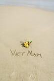Vietnam Beach. Vietnam written on the sand with fruit basket in Danang beach, Vietnam Royalty Free Stock Photos