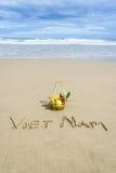 Vietnam Beach. Vietnam written on the sand with fruit basket in Danang beach, Vietnam Stock Images