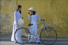 Vietnam. Beautiful women with vintage style with bicycle ,Vietnam culture traditional stock photos