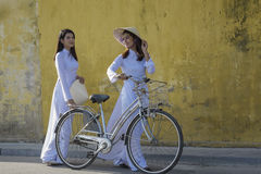 Vietnam. Beautiful women with vintage style ,Vietnam culture traditional royalty free stock photo
