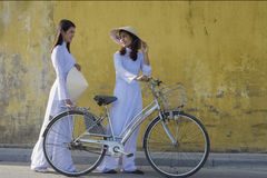 Vietnam. Beautiful women with vintage style ,Vietnam culture traditional royalty free stock images