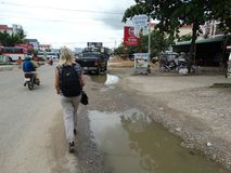 Vietnam / Cambodia Border. Cambodian side of the Vietnam / Cambodia Border in Bavet stock photo