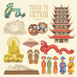 Vietnam card with vietnamese traditional objects. Vietnam card with with vietnamese pagodas. Set of traditional Vietnamese cultural symbols. Vietnamese landmarks Stock Photo