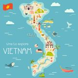Vietnam cartoon map with destinations. elements. Vietnm cartoon vector map with famous destinations, animals, fruits, symbols vector illustration