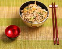 Vietnam chicken pho. Vietnamese vermicelli chicken and rice noodles soup, pho, served on a bamboo place mat Stock Photo