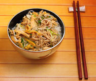 Vietnam chicken pho. Vietnamese vermicelli chicken and rice noodles soup, pho, on a wood table top Royalty Free Stock Image