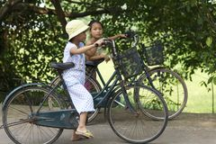Vietnam Children on Bicycles Stock Photo