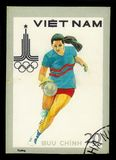 Womens basketball, Summer Olympic Games 1980 - Moscow. VIETNAM - CIRCA 1980: A stamp printed in Vietnam shows women`s basketball, series Summer Olympic Games Stock Photo