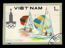 Yachting, Summer Olympic Games 1980 - Moscow. VIETNAM - CIRCA 1980: A stamp printed in Vietnam shows yacht race, series Summer Olympic Games 1980 - Moscow, circa Stock Photos