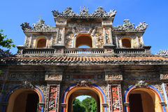 Vietnam Citadel Gate. Historic colorful city gate to Citadel, Hue, Vietnam Stock Photo