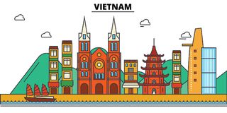 Vietnam, . City skyline architecture . Editable strokes. Vietnam, . City skyline architecture, buildings, streets, silhouette, landscape panorama landmarks Royalty Free Stock Image