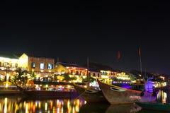 Vietnam, ciudad antigua de Hoi An en la noche imagen de archivo