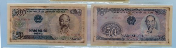 Vietnam currency banknotes stock photos