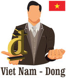 Vietnam currency symbol dong representing money and Flag. Royalty Free Stock Images
