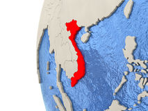 Vietnam on 3D globe. Map of Vietnam on globe with watery blue oceans and landmass with visible country borders. 3D illustration stock illustration