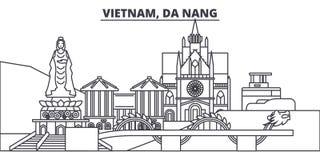 Vietnam Da Nanglinje horisontvektorillustration Vietnam linjär cityscape för Da Nang med berömda gränsmärken, stad siktar vektor illustrationer