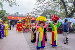 Tran Hung Dao Temple. Vietnam dancer with colorful dragon in Tran temple festival Stock Photo